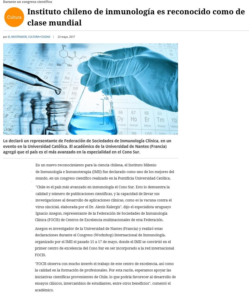 Publicación El Mostrador - Congreso Focis - IMII 1