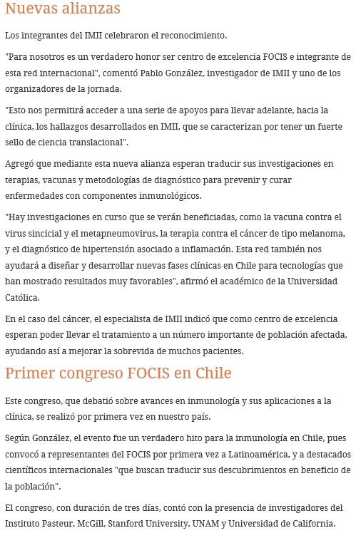 Publicación El Mostrador - Congreso Focis - IMII 2